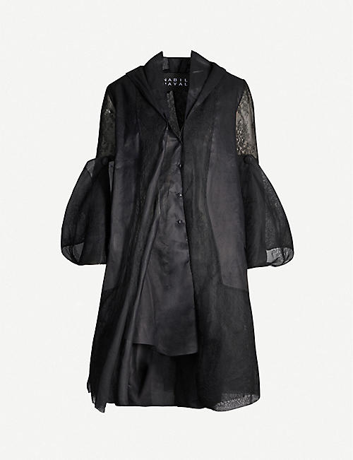 NABIL NAYAL Emmanuelle flared sleeves cotton and silk coat