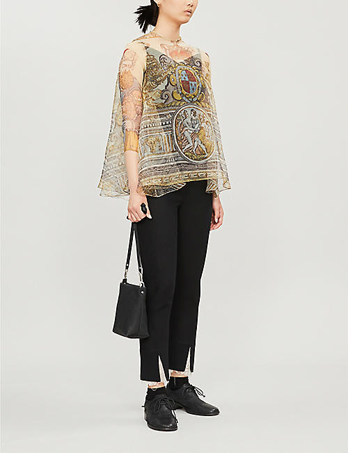NABIL NAYAL Graphic-print flared silk top