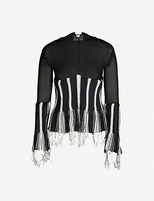KEPLER Monochrome pleated silk-knit top