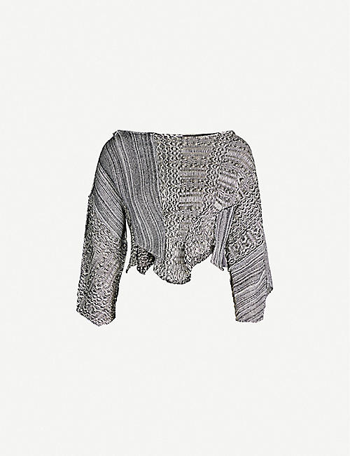 KEPLER Laddered asymmetric cropped silk jumper