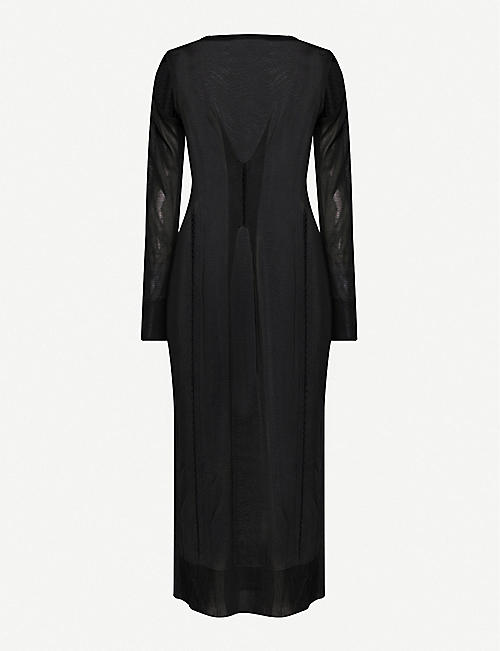 KEPLER Ruched knitted midi dress