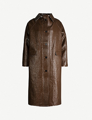 KASSL EDITIONS Coated linen and cotton-blend coat