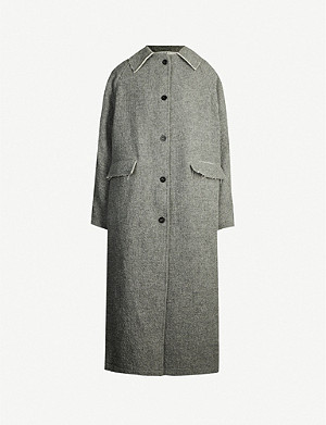 KASSL EDITIONS Frayed-trim wool and cotton-blend coat