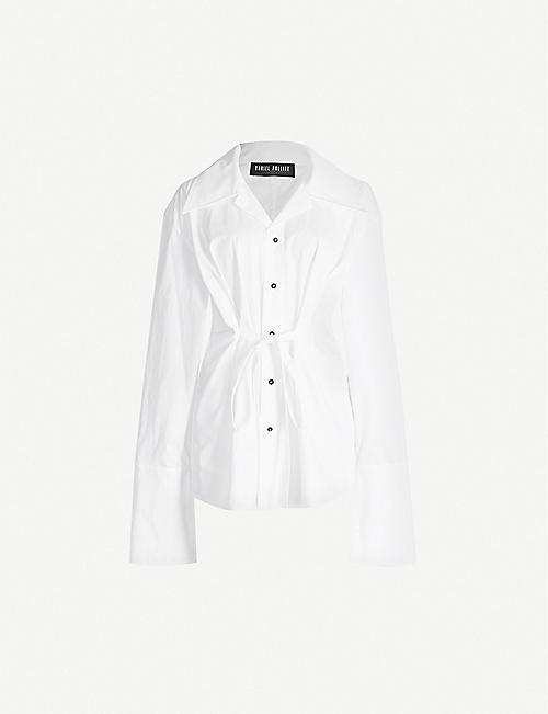DANIEL POLLITT Revere-collar tied-front cotton shirt
