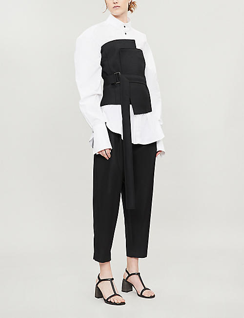 DANIEL POLLITT Band-collar oversized cotton shirt