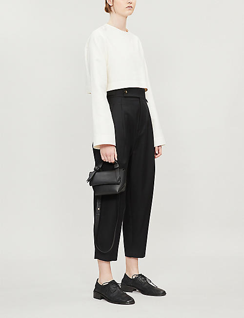 DANIEL POLLITT Peg leg tapered wool trousers