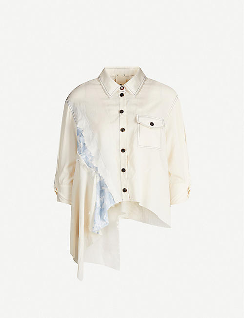 WEN PAN: Floral-panel cotton-jersey shirt blouse