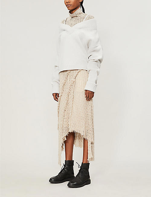 WEN PAN Asymmetric-hem frayed-trim knitted midi skirt