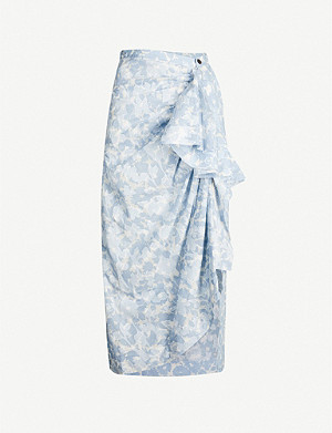 WEN PAN Floral-pattern A-line cotton midi skirt