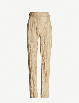 WEN PAN High-rise tapered cotton-blend trousers