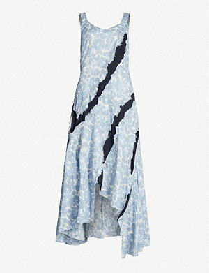 WEN PAN Floral-pattern sleeveless cotton maxi dress