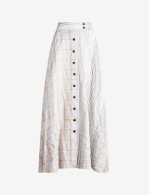 WEN PAN Button-through cotton-blend midi skirt
