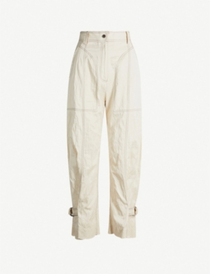 WEN PAN Buckle-embellished high-rise straight stretch-crepe trousers