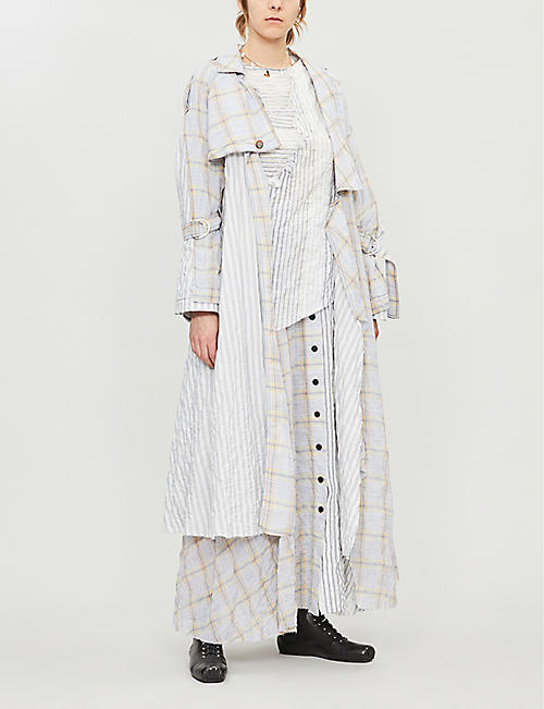 WEN PAN Checked striped cotton-blend trench coat