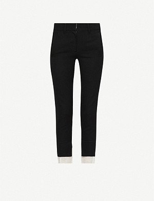 ANN DEMEULEMEESTER Contrast-hem slim-fit wool and cotton-blend trousers