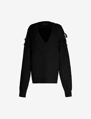 ANN DEMEULEMEESTER Brushed-texture V-neck knitted jumper