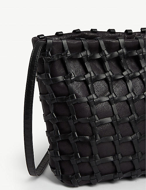 ANN DEMEULEMEESTER Woven leather cage cross-body bag