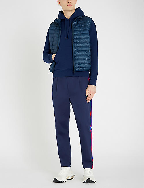 MONCLER Side-stripe relaxed-fit tapered stretch-cotton chinos