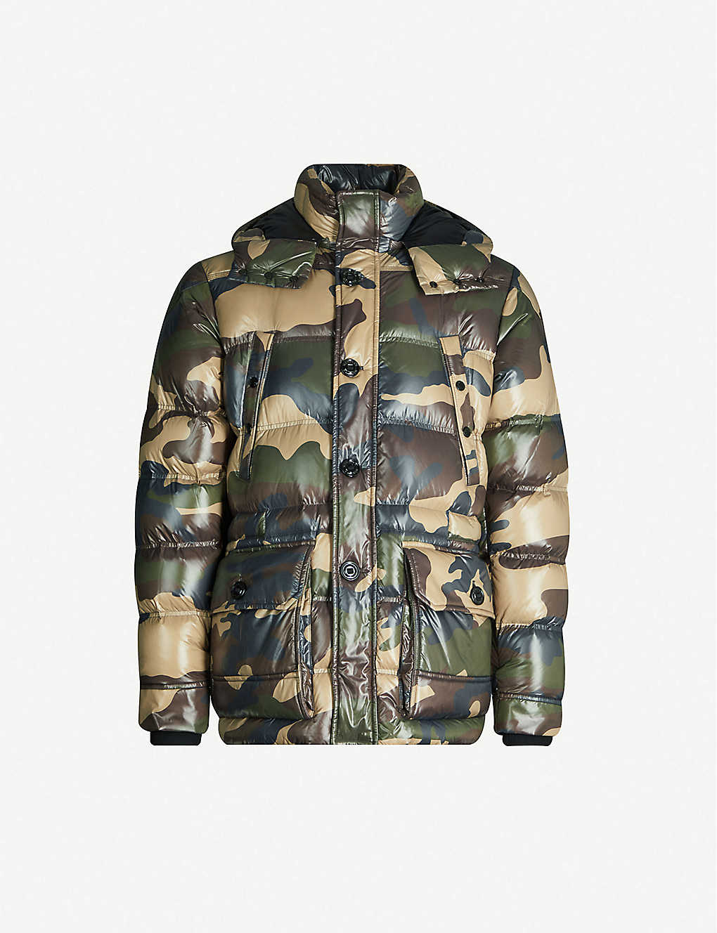 MONCLER: Camouflage-print shell-down hooded jacket
