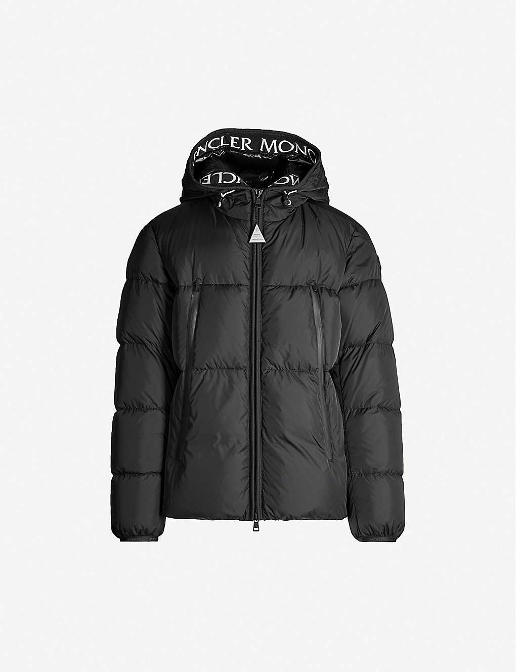 a437f02bf Logo-print padded shell and down-blend hooded jacket