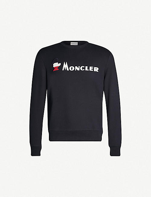 65c5a9008f13 MONCLER Embossed-logo cotton-jersey sweatshirt