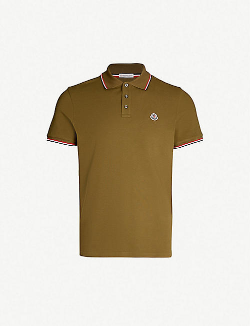 820d789112603 MONCLER Stripe-trimmed cotton-piqué polo shirt