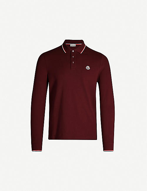 MONCLER Stripe-trim cotton-piqué polo shirt