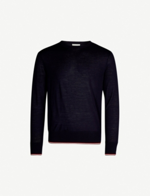 MONCLER Stripe-trim virgin wool jumper