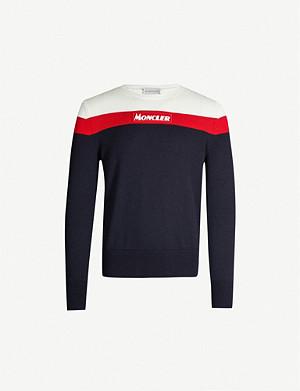 1a45315150 MONCLER - Stripe-trim virgin wool jumper   Selfridges.com