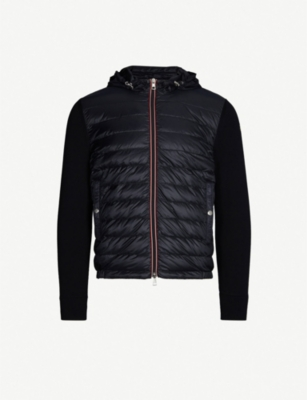 MONCLER Hooded quilted cotton, shell and down-blend jacket
