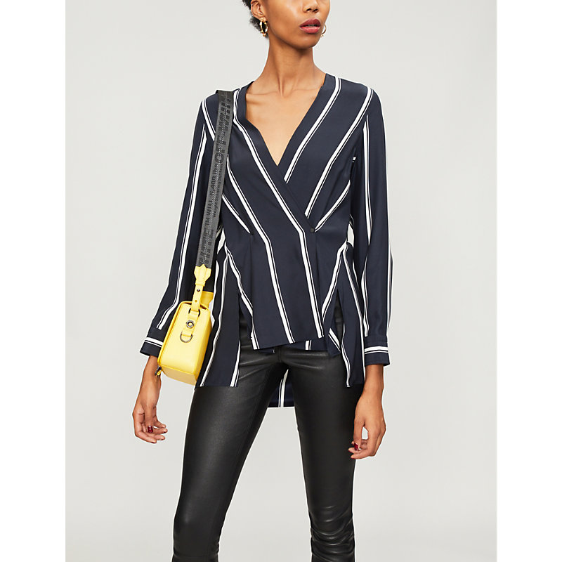 Debbie Wrap-Effect Striped Silk Crepe De Chine Top, Navy Stripe