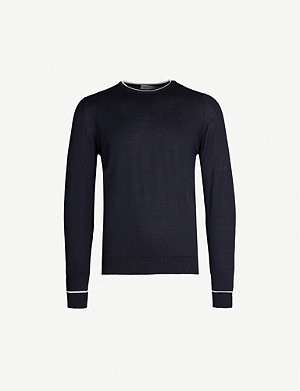 JOHN SMEDLEY Astin two-tone cotton-knit jumper