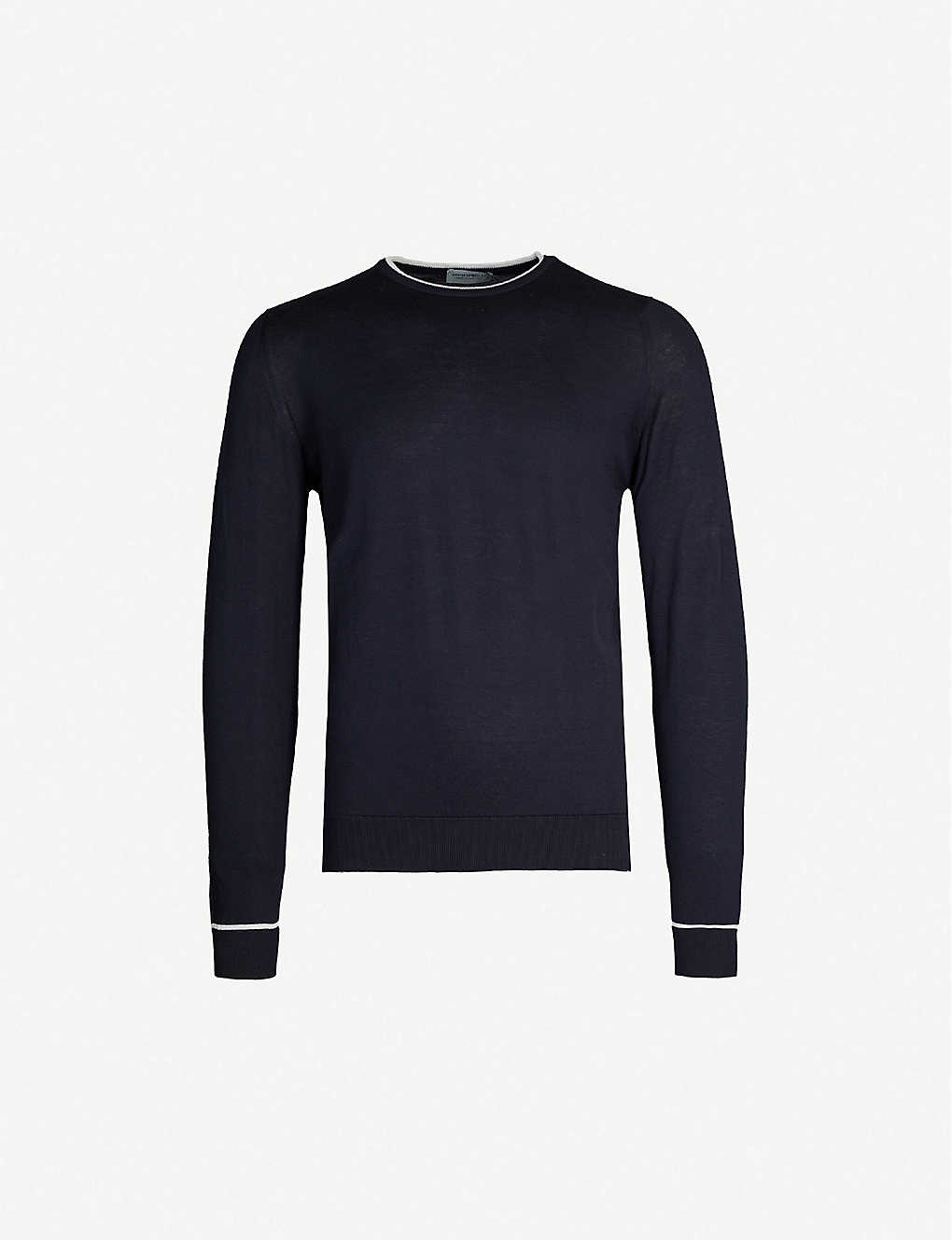 JOHN SMEDLEY: Astin two-tone cotton-knit jumper