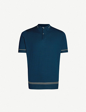 JOHN SMEDLEY Beecroft striped wool polo shirt