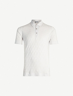 JOHN SMEDLEY Forrestry textured cotton-knit polo shirt