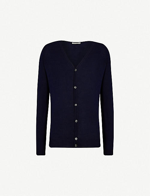 JOHN SMEDLEY: Petworth V-neck merino wool cardigan