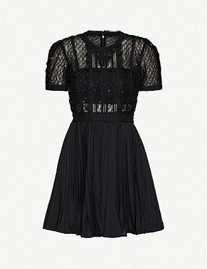 SELF-PORTRAIT Sequin-embellished pleated tulle and crepe mini dress