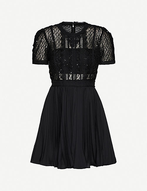 SELF-PORTRAIT: Sequin-embellished pleated tulle and crepe mini dress