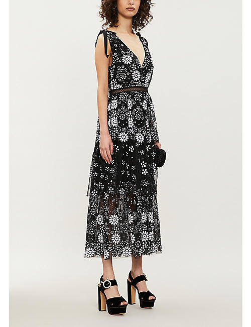 SELF-PORTRAIT V-neck sequin-embellished tulle midi dress