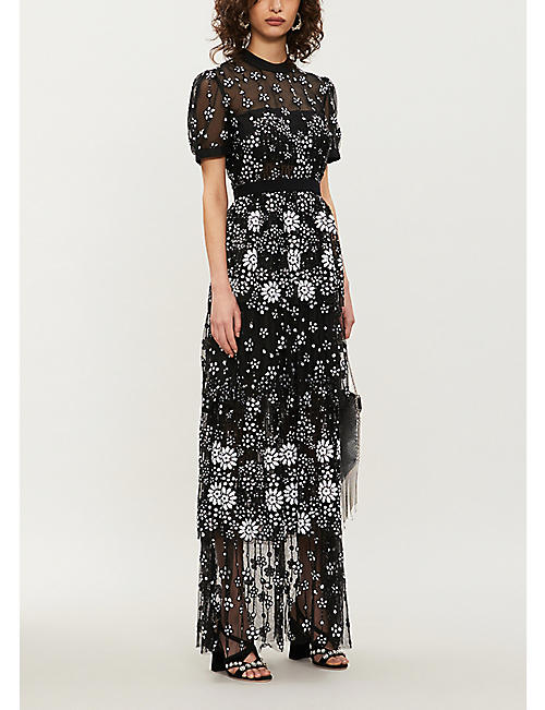 SELF-PORTRAIT Tiered sequin-embellished tulle midi dress