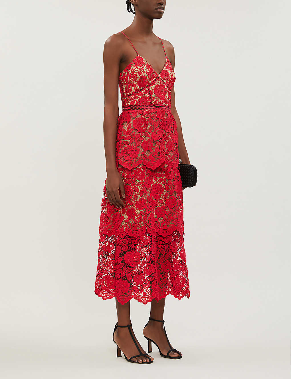 SELF-PORTRAIT: V-neck floral-lace midi dress