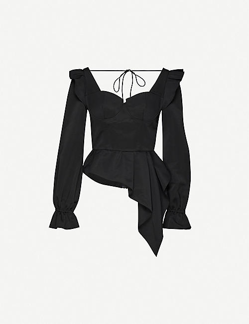 SELF-PORTRAIT Ruffled stretch-twill top