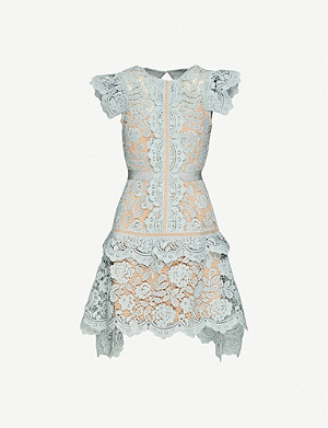 SELF-PORTRAIT Puff-sleeve floral-lace mini dress