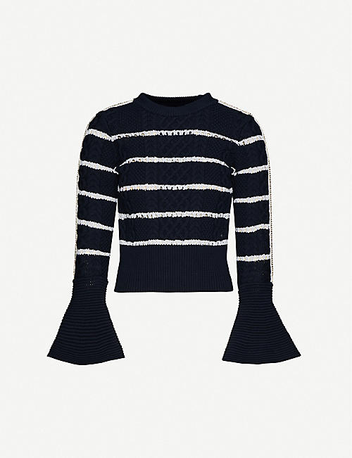 SELF-PORTRAIT Fluted-sleeve striped cotton-knit jumper