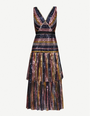 Striped sequinned midi dress - MULTI