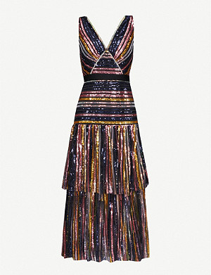 SELF-PORTRAIT Striped sequinned midi dress