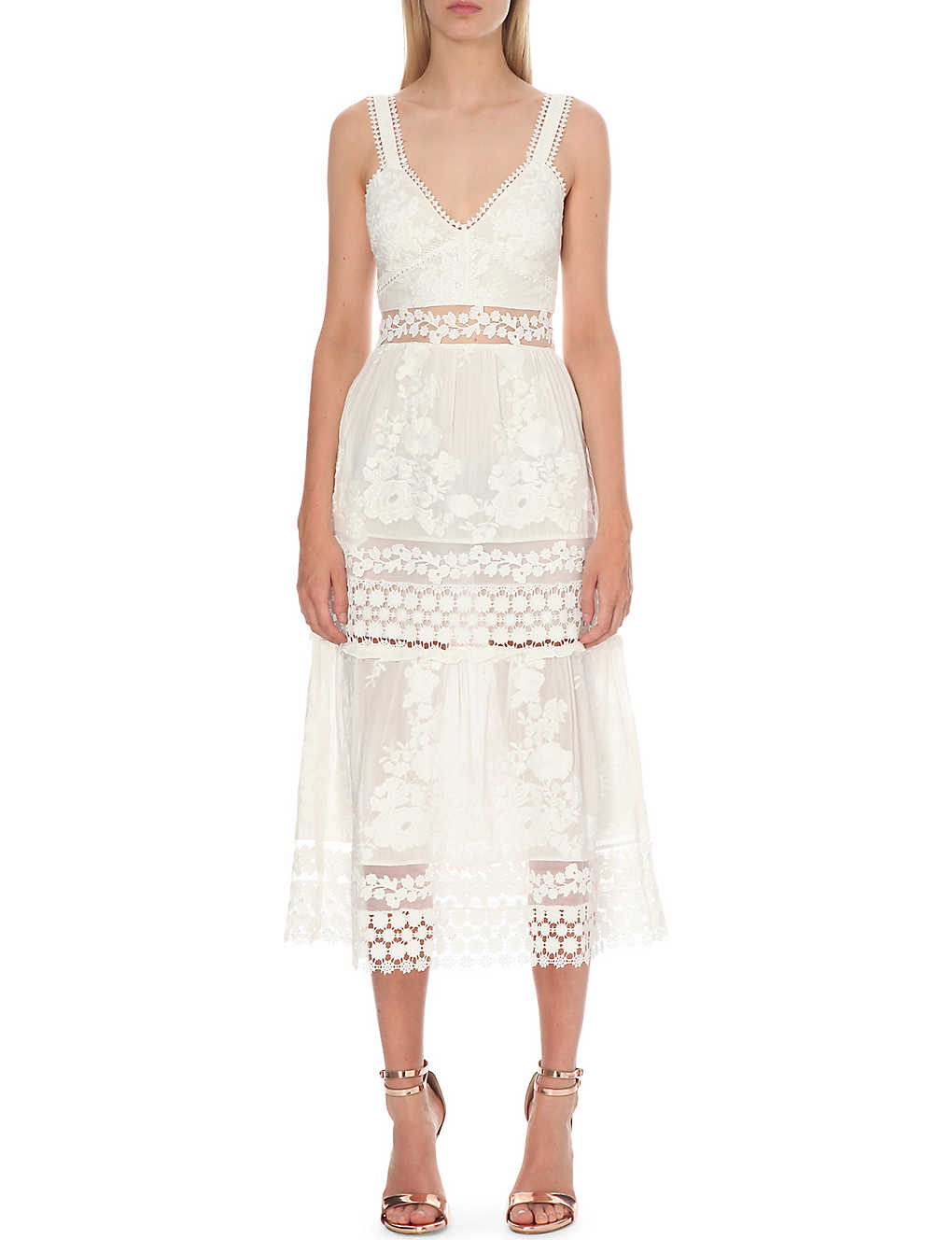 ac50a1ede0 SELF-PORTRAIT - Plunge neck Prairie dress with organza slip ...