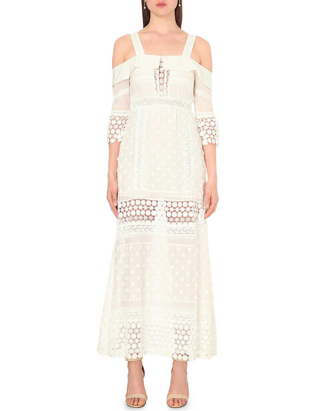 ec18967634a8 SELF-PORTRAIT - Long-sleeved off-the-shoulder lace maxi dress ...