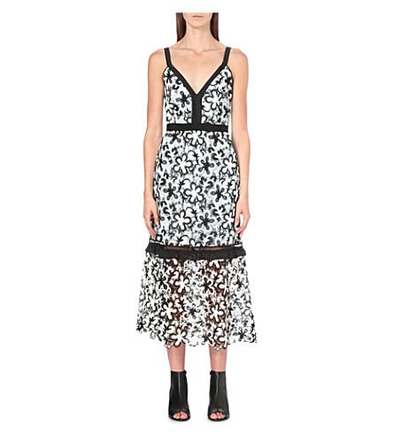 1f2358bf820 SELF-PORTRAIT A-line floral-lace midi dress (Black white