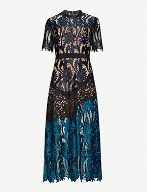SELF-PORTRAIT Prairie floral-embroidered midi dress